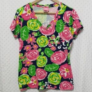 Simply Southern floral v-neck tee top tshirt Large